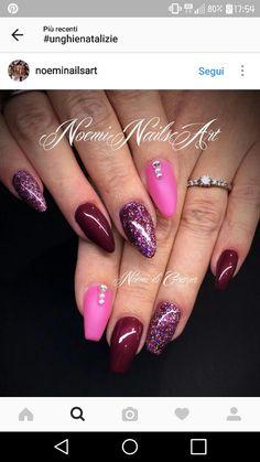 Bordeaux sangue di giuda glitter rosa fluo opaco strass