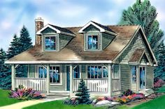Cottage Style House Plan - 2 Beds 1 Baths 736 Sq/Ft Plan #18-1043 Front Elevation - Houseplans.com: Hmmm, not sure that I don't want a LITTLE bigger than this when we move South some day, but it's a pretty straightforward plan!