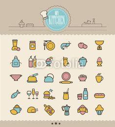 Picto cuisine, picto, icône, ustensiles, accessoires, café, pâtisserie, crevette, balance, citron, poulet, tablier…