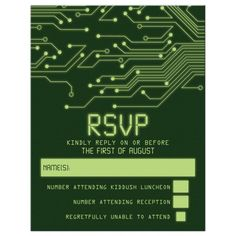 Green computer circuit board  RSVP card.