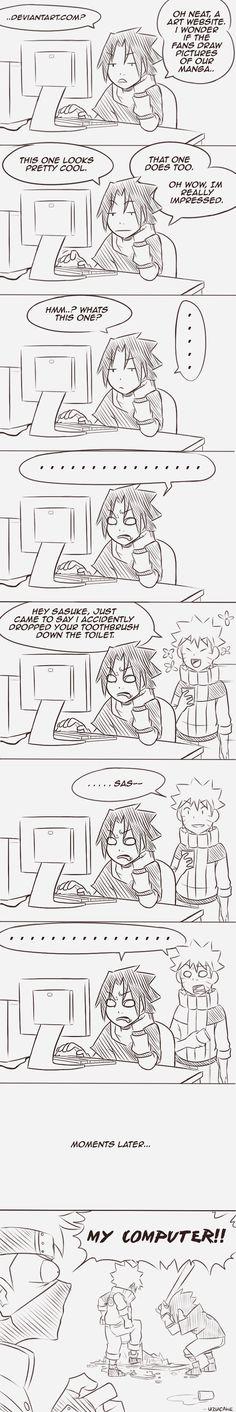Jajajaja pobre kakashi se quedo sin computadora pero mas pobre sasuke y naruto por descubrir el yaoi xD