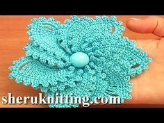 Crochet 6-Petal Flower Spirals In Center Tutorial 59 Part 1 of 2 - YouTube