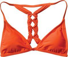 macrame bikini. cute. in orange and black.