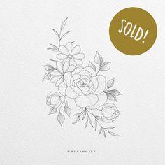 Rose Drawing Tattoo, Flower Tattoo Drawings, Flower Tattoo Designs, Flower Tattoos, Botanical Line Drawing, Floral Drawing, Rose Zeichnung Tattoo, Rasta Tattoo, Wildrose Tattoo