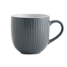 Made from durable stoneware, this dishwasher and microwave safe Lyon mug features an intricate embossed texture and is also available in a range of other colours. Grey Mugs, Curtains Dunelm, Navy Kitchen, Air Force Blue, Kitchen Canisters, Stoneware, Tea Pots, Ceramica