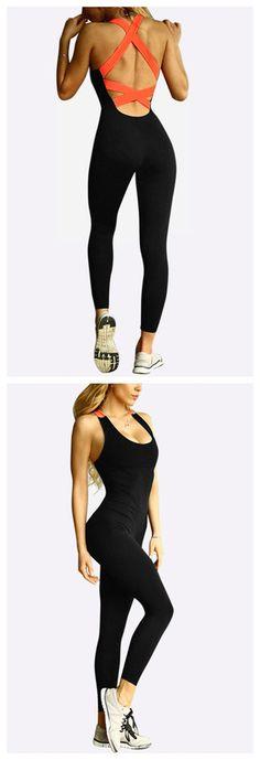 Black And Orange Fashion Stretch Cross Back Bodycon Sleeveless Maxi Jumpsuit