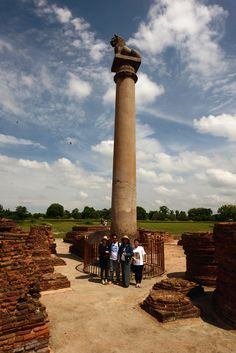 The pillars of Ashoka are a series of columns dispersed throughout the northern Indian subcontinent, erected or at least inscribed with edicts by the Mauryan king Ashoka during his reign in the 3rd century BC.