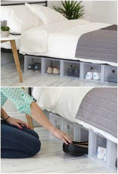 15 clever ways to store your shoes and boots - Living in a shoebox Shoe Rack Organization, Boot Storage, Shoe Storage Cabinet, Wooden Shoe Rack Designs, Wooden Shoe Racks, Shoe Rack Under Bed, Wall Mounted Shoe Rack, Interior Design Pictures, Small Space Living