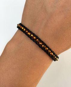 Playful beaded bracelet with beads in gold on black cotton cord, friendship bracelet, handmade, boho chic Wrap Bracelets, Beaded Bracelets, Boho, Etsy, Jewelry, Fashion, Black Pearls, Black Man, Black Gold