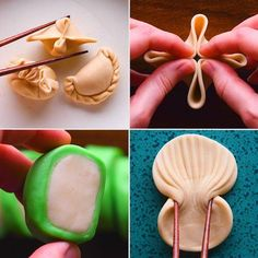 This video teaches you how to make homemade dumpling dough and breaks down intricate designs into easy step-by-step folds. Food Crafts, Diy Food, Food Garnishes, Food Decoration, Creative Food, Appetizer Recipes, Party Recipes, Appetizers, Food Hacks