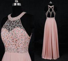 Classical Blush High Neck Beaded Prom Dress/Long Chiffon Prom