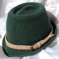 I knit this hat with wool yarn then felted it.  Free pattern in Winter 2008 issue of Vogue Knitting.
