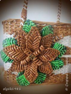 Поделка изделие Плетение Пляжная корзинка из бумажных трубочек Бумага фото 5