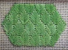Leaf Stitch - NeedlepointTeacher.com (graphed diagram of stitch at this website, too)