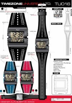 Time Zone Universal  LTD. Watches  designed by: Alvin Gilbert Dc. Gonda  abugonda@yahoo.com Pantone, Design Development, Casio Watch, Digital Watch, Industrial Design, Behance, Graphic Design, Watches, Concept