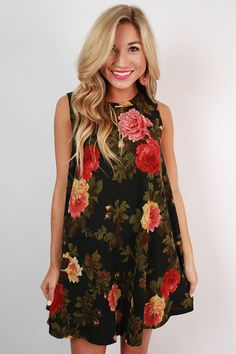 Into The Wild Floral Dress in Black