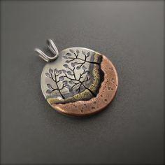 Three Tree Forest Mixed Metal Pendant – Beth Millner Jewelry