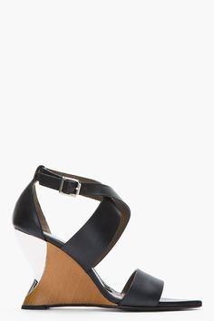 MARNI Black leather and silver wedge sandals