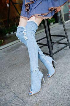 Damen Hohen Pfennigabsatz Schnüren Peep Toe Schenkel Overkneestiefel Größe