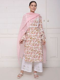 White Pink Hand Block Printed Cotton Kurta with Cut Work Palazzo and Dupatta- Set of 3 Printed Kurti Designs, Salwar Designs, Kurta Designs Women, Kurti Designs Party Wear, Kurti Sleeves Design, Kurta Neck Design, Dress Neck Designs, Designs For Dresses, Indian Designer Suits