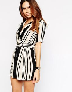 Image 1 ofASOS Playsuit in Stripe with Wrap Front
