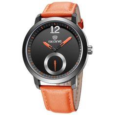 SKONE 2016 Fashion Casual Men Women Quartz Watch PU Leather Modern Simple Style Lover's Wristwatch Couple Watches