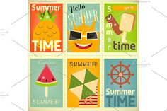 Summer Time Posters Set 2 by elfivetrov on @creativemarket