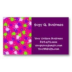 Hot Pink Purple Lime Green Paint Splatters Splotch Business Card Template | Pretty Business Cards