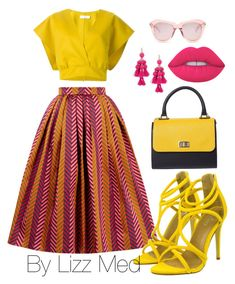 Yellow ☀️ by lizz-med on Polyvore featuring polyvore fashion style House of Holland Kate Spade Karen Walker Lime Crime Jil Sander clothing