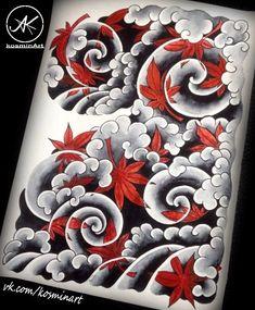 Tattoo Мимоджи - tattoo's photo In the style Oriental, Abstracti Old School Tattoo Designs, Japanese Tattoo Designs, Japanese Tattoo Art, Japanese Sleeve Tattoos, Asian Tattoos, Trendy Tattoos, Cool Tattoos, Japan Illustration, Tatouage Fibonacci