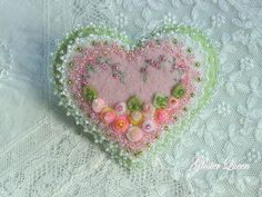 Felt flower hand beaded pin / brooch in peachy by GlosterQueen
