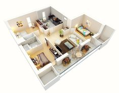The bedrooms in this home are spread out for maximum privacy, with buffer rooms between each space.