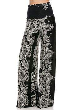 Fashion Forever Darling Paisley Wide Leg Yoga Palazzo Pants Misses Wide Leg Palazzo Pants, Printed Palazzo Pants, Wide Leg Pants, Patterned Pants, Palazzo Trousers, Comfy Pants, Fancy Pants, Exuma Pants, Pallazo Pants