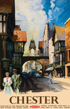 GBP - Vintage Chester England British Railways Travel Poster Re-Print All Poster, Poster Wall, Poster Prints, Train Posters, Railway Posters, England Travel Poster, British Rail, British Isles, Vintage Travel Posters