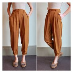 Vintage 80s High Waisted Pants Pleated Trousers Golden Mustard Tapered... ❤ liked on Polyvore featuring pants, high-waisted trousers, mustard pants, pleated trousers, highwaist pants and high-waisted pants