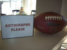 Great idea for a guest book!! Maybe a white one would make the marker show up better, but still cool, especially with the autograph sign and maybe a frame stand would hold it? Attending the guest book would be a great job for little people who want to help out! Cowboy Baby Shower, Football Baby Shower, Dallas Cowboys Baby Shower Ideas, Baby Boy Shower, Baby Shower Themes, Amelie, Diaper Shower, Gender Party, Football Birthday