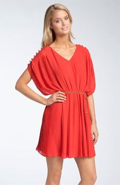 Jessica Simpson Button Shoulder Pleated Chiffon Dress  - color is tomato puree...I think vivid poppy is a better name though...