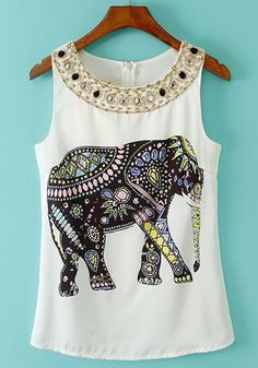 White Beading Print Sleeveless Vest