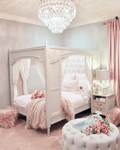 Our inner child just squealed with delight! Loving this magical room from Use for a chance to be featured next week! Our inner child just squealed with delight! Loving this magical room from Use for a chance to be featured next week! Cute Bedroom Ideas, Cute Room Decor, Girl Bedroom Designs, Girls Pink Bedroom Ideas, 4 Year Old Girl Bedroom, Rich Girl Bedroom, Design Bedroom, Bedroom Styles, Teen Bedroom