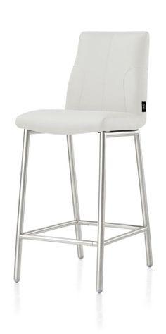 White bar stool white metal legs