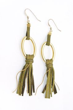 Leather Jewelry Fringes Long Earrings in Olive Green and Gold