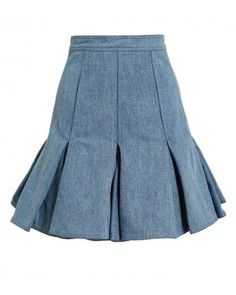 Balmain Blue Pleated Denim Mini Skirt