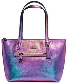 "•COACH• ~Taylor Tote in Hologram Leather~ I'm Def Buying This Tote Its Fun & Flashy Its A Must Have Item For Me, I'm Obsessed! Ok So I Love The Metallic Finish & The Fun Design Of The Oil Slicked Blend Of Colors Plus I Love That Its A Tote Cause The Tote Style Bags From Coach Are Durable, Spacious & Versatile! FYI You Can Buy & Designate Tote Bags For So Much More Than Just A ""Daily Purse""!!!!"