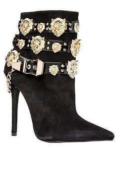 Jeffrey Campbell Shoe Rokbar Bootie in Black Suede and Gold