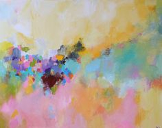 ORIGINAL  Colorful Abstract  Landscape soft color  Multicolored painting abstract acrylic  contemporary art by OAK