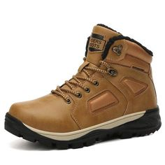 New Winter Men Boots Fur Warm Comfortable Leather Boots Men Waterproof Safety Work Boots Outdoor Casual Ankle Shoes Big Size , Zapatos de hombre Mens Snow Boots, Mens Winter Boots, Winter Snow Boots, Men Boots, Winter Shoes, Fall Winter, Leather Men, Leather Boots, Fur Ankle Boots