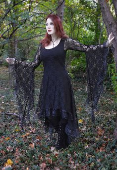 Avrane Lace Gothic Dress with Dramatic Bell Sleeves by rosemortem