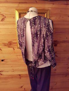 Open Back Cold Shoulder Batik Top Cold Shoulder, Trending Outfits, Blouse, Unique Jewelry, Clothes, Vintage, Tops, Women, Fashion