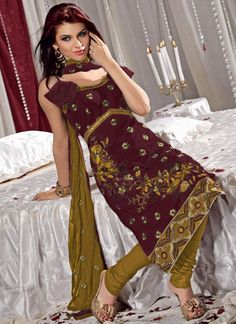 Resham Essence Maroon And Mustard Salwar Suit