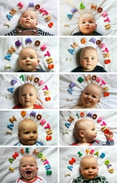 Spell it above with felt letters like this Monthly Photo Idea from Famille Summerbelle. Monthly Baby Photo Ideas - Track Your Baby's Age in Photos plus FREE Monthly Printable Milestone Stickers and Signs on Frugal Coupon Living.